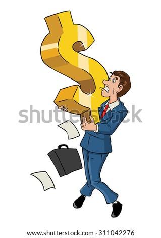 Cartoon illustration of a businessman holding a big dollar symbol - stock vector
