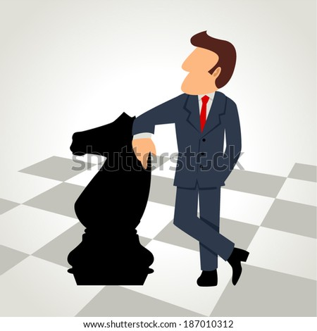 Cartoon illustration of a businessman with a chess knight piece - stock vector