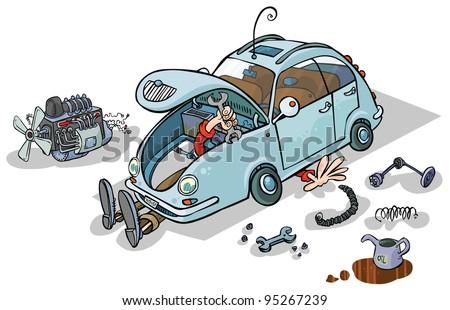 Cartoon Illustration of a Car Repairs. - stock vector