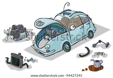 Cartoon Illustration of a Car with his Parts. - stock vector