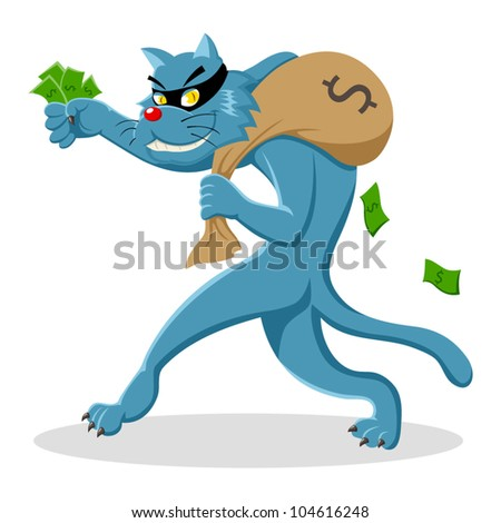 Cartoon illustration of a cat stealing a bag of money