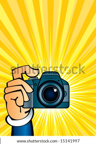 Cartoon illustration of a clicking hand with camera. - stock vector