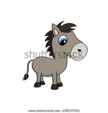Cartoon illustration of a cute baby donkey with big blue eyes - stock vector
