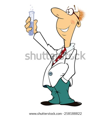 Cartoon illustration of a cute scientist with Mixture  - stock vector