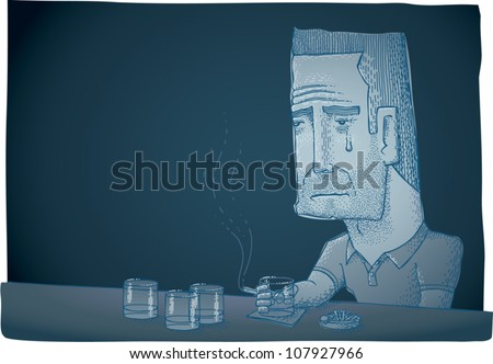 Cartoon illustration of a depressed man crying while sitting at a bar, smoking and drinking. Low key monochromatic blue, with plenty of copy space. - stock vector