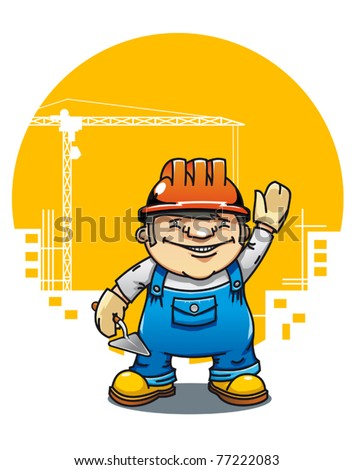 Cartoon illustration of a friendly construction worker or bricklayer holding a cement trowel and wearing a hardhat standing waving. Jpeg version also available - stock vector