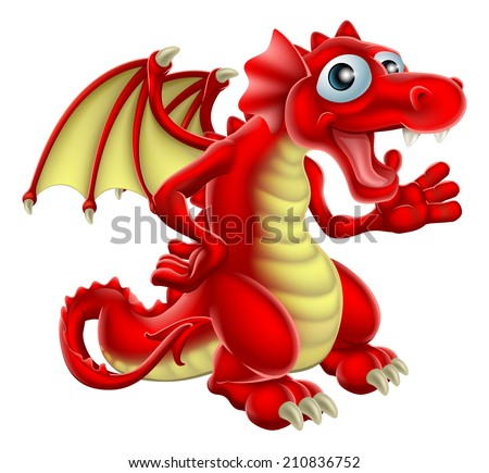 Cartoon illustration of a friendly Red Dragon smiling and waving - stock vector