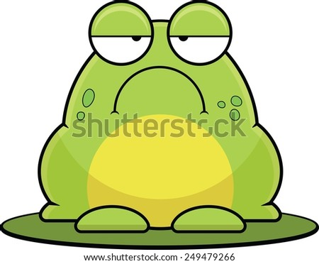 Cartoon illustration of a frog sitting on a lily pad.  - stock vector