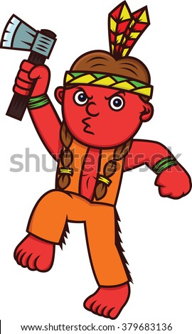 Cartoon illustration of a funny little red Indian with an axe weapon - stock vector
