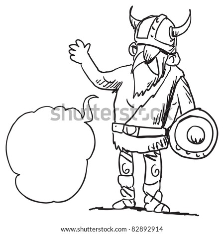 Cartoon illustration of a funny viking speaking something