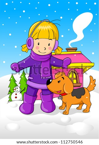 Cartoon illustration of a girl with her dog during wintertime - stock vector