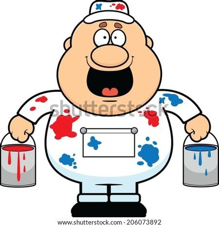 Cartoon illustration of a house painter happy.  - stock vector
