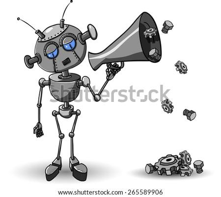 Cartoon illustration of a iron robot with Speaker - stock vector