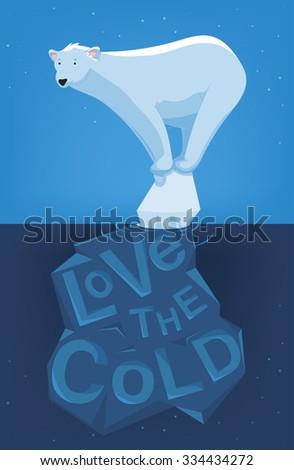 cartoon illustration of a lonely polar bear on an iceberg - stock vector