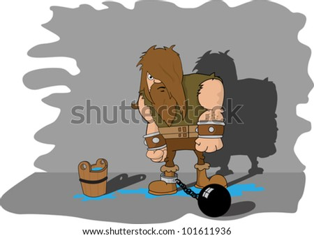 cartoon illustration of a man imprisoned in a dungeon - stock vector