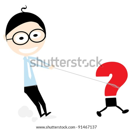 cartoon illustration of a man tied a rope on the question mark - stock vector