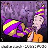 Cartoon illustration of a man wearing a party hat, blowing a noisemaker at a crowded party. - stock vector