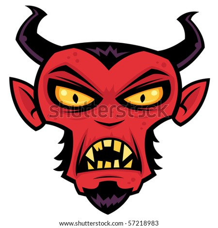 Cartoon illustration of a mean red devil character with horns, goatee, yellow eyes and fangs. - stock vector