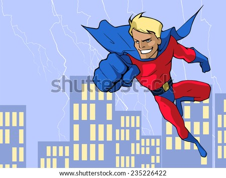 Cartoon illustration of a mighty flying superhero in bright costume