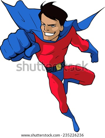 Cartoon illustration of a mighty superhero in bright red and blue costume flying forward isolated