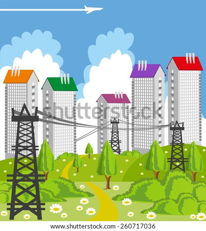 Cartoon illustration of a modern city with power line - stock vector