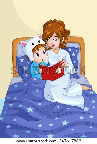 Cartoon illustration of a mother storytelling for her child before sleep - stock vector