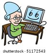 Cartoon illustration of a nervous senior lady who is about to use a computer for the first time - stock vector