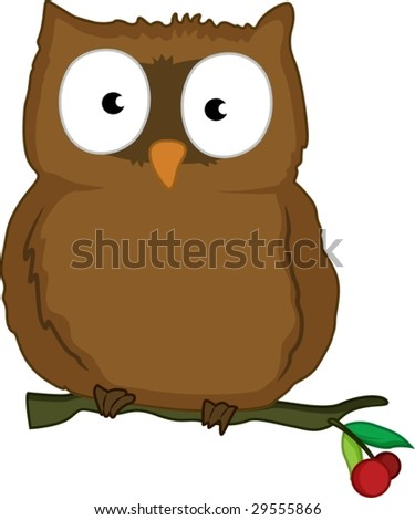 cartoon illustration of a owl - stock vector