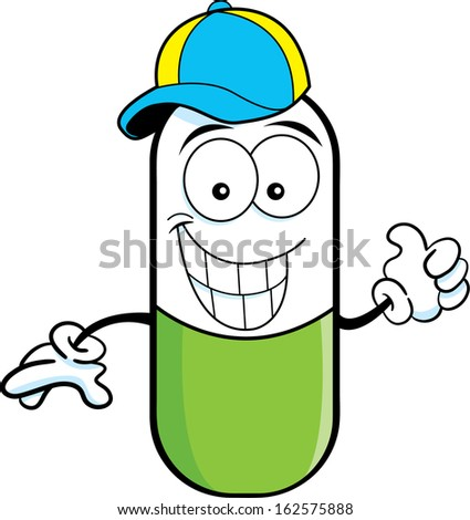 Cartoon illustration pill capsule giving thumbs for How to draw a pill