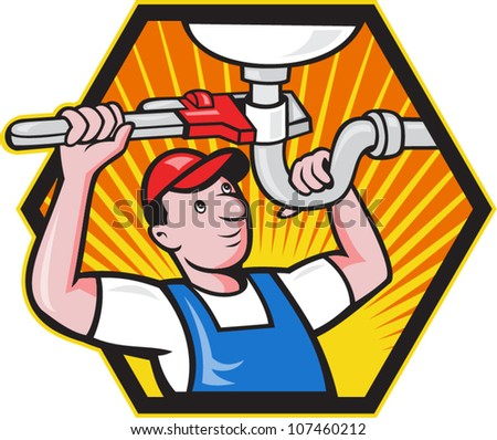 Cartoon illustration of a plumber worker repairman tradesman with adjustable monkey wrench repairing bathroom sink set inside hexagon.