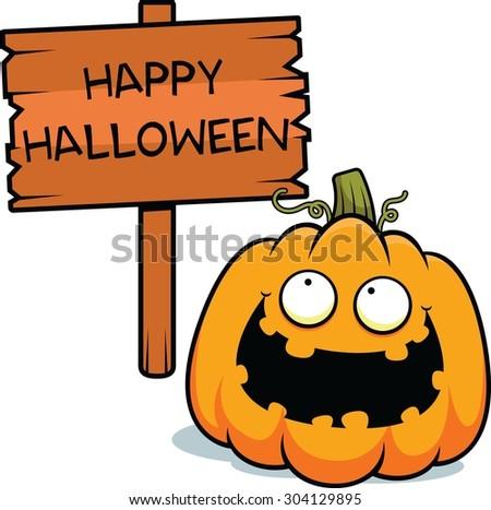 Cartoon Illustration Pumpkin Happy Halloween Sign Stock Vector ...
