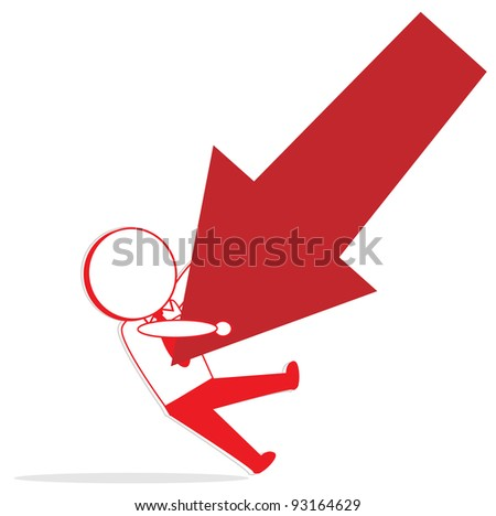cartoon illustration of a red business fails - stock vector