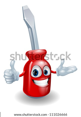 Cartoon illustration of a red screwdriver man smiling and doing a thumbs up gesture - stock vector