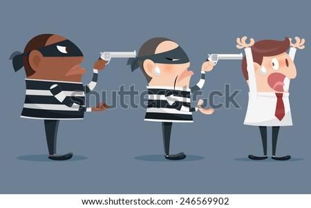 Cartoon illustration of a robber holding a gun - stock vector