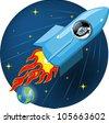 cartoon illustration of a robot in a rocket - stock vector