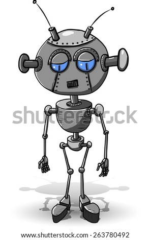 Cartoon illustration of a sad iron robot - stock vector