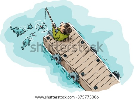 Cartoon illustration of a single man sitting and fishing on a long, wood dock showing fish attracted by the worm on the fishhook. - stock vector