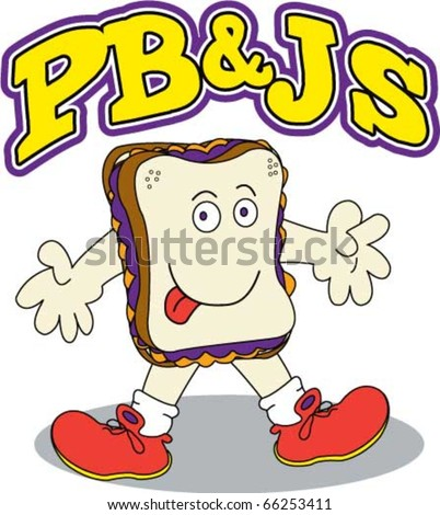 Cartoon Illustration of a smiling animated Peanut Butter and Jelly sandwich.