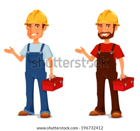 cartoon illustration of a smiling construction worker or handyman with toolbox - stock vector