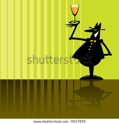 cartoon illustration of a smiling vine-taster in a hat - stock vector