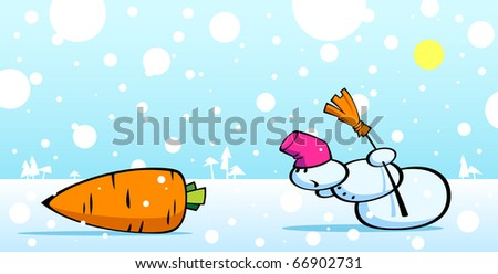 Cartoon illustration of a snowman and carrot.
