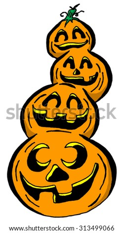 Cartoon Illustration of a Stack of Pumpkins