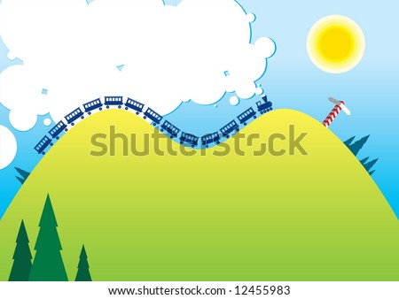 Cartoon illustration of a sunny landscape with mooving steam locomotive. - stock vector