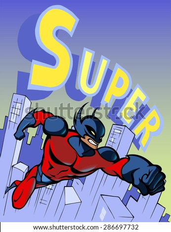 Cartoon illustration of a super hero flying fast above the modern city