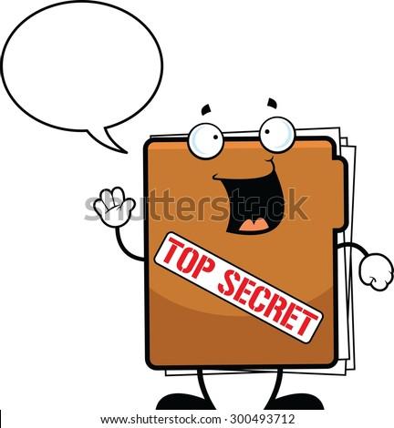 Cartoon illustration of a top secret folder talking with a speech bubble.  - stock vector