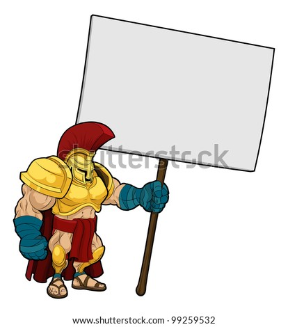 Cartoon illustration of a tough looking Spartan or Trojan soldier holding a sign board - stock vector