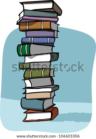 Cartoon illustration of a very tall stack of books on a blue background.
