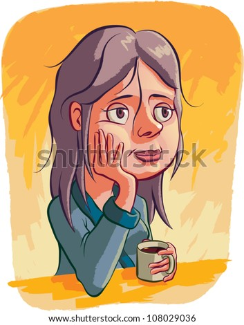 Cartoon illustration of a woman sitting at a table wearing a house robe, holding a black cup of coffee and staring off dreamily into space. - stock vector