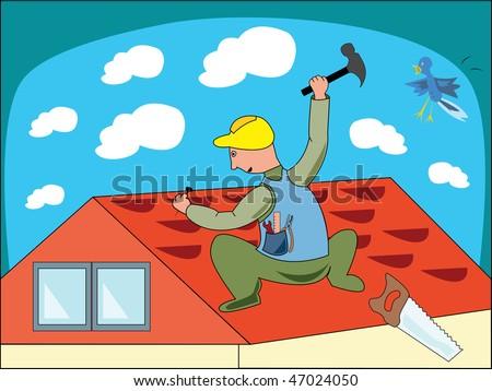 Cartoon illustration of a workman - stock vector