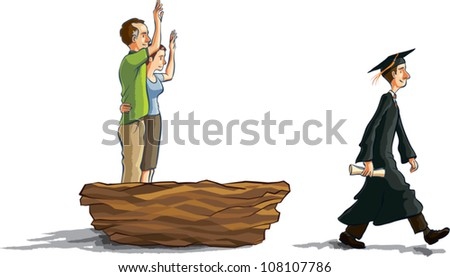 Cartoon illustration of a young man in graduation robes walking away from a giant nest while his middle aged parents stand inside waving goodbye. - stock vector